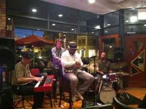 Norman's Bistro with Ernest Hawkins  To use some jazz vocab these cats were excellent!  The drummer had four sets of sticks and with four musicians there was a fedora, a beret! Do these guys need a groupie? I am in!