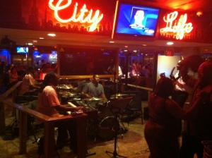 City Life Alfonzo Jones trio - felt like I was in a the band leaders basement bar he was so comfortable up there meanwhile the bar looks a bit like a diner and there is ketchup and a honey bear honey bottle at each spot along the Formica counter -- why?  That's for the chicken and fish they fry and the owner puts her own bbq/hot sauce in the honey bear jars - I almost put on in my purse!