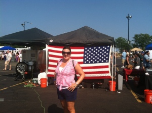 I had the perfect BBQ Fest outfit on! I am also patriotic!