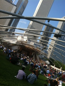 Beautiful Millennium Park downtown Chicago at dusk on the final night of Jazz Fest