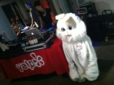 It's a bunny at the Yelp DJ table!